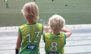 Alex and Max at footy